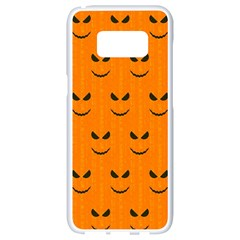 Funny Halloween   Face Pattern Samsung Galaxy S8 White Seamless Case by MoreColorsinLife