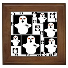 Funny Halloween   Ghost Pattern 2 Framed Tiles by MoreColorsinLife