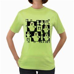 Funny Halloween   Ghost Pattern 2 Women s Green T Shirt by MoreColorsinLife
