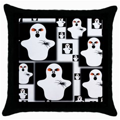 Funny Halloween   Ghost Pattern 2 Throw Pillow Case (black) by MoreColorsinLife