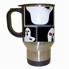 Funny Halloween   Ghost Pattern 2 Travel Mugs (white) by MoreColorsinLife