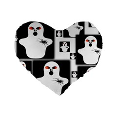 Funny Halloween   Ghost Pattern 2 Standard 16  Premium Heart Shape Cushions by MoreColorsinLife