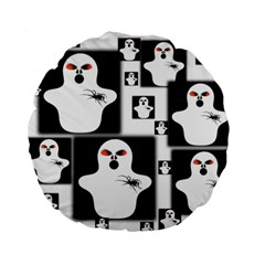 Funny Halloween   Ghost Pattern 2 Standard 15  Premium Flano Round Cushions by MoreColorsinLife