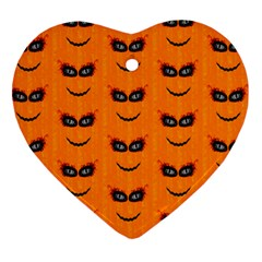 Funny Halloween   Face Pattern 2 Heart Ornament (two Sides) by MoreColorsinLife