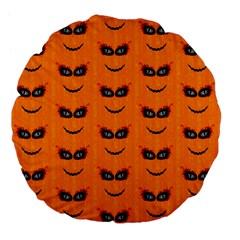 Funny Halloween   Face Pattern 2 Large 18  Premium Flano Round Cushions by MoreColorsinLife
