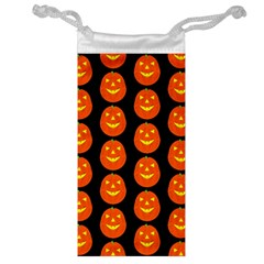 Funny Halloween   Pumpkin Pattern 2 Jewelry Bag by MoreColorsinLife