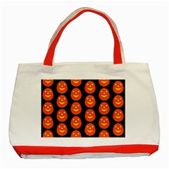 Funny Halloween   Pumpkin Pattern 2 Classic Tote Bag (red) by MoreColorsinLife