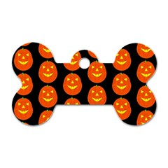 Funny Halloween   Pumpkin Pattern 2 Dog Tag Bone (one Side) by MoreColorsinLife