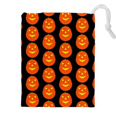 Funny Halloween   Pumpkin Pattern 2 Drawstring Pouches (xxl) by MoreColorsinLife