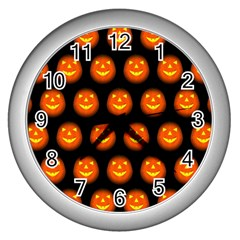 Funny Halloween   Pumpkin Pattern Wall Clocks (silver)  by MoreColorsinLife