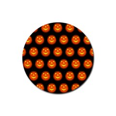 Funny Halloween   Pumpkin Pattern Rubber Coaster (round)  by MoreColorsinLife