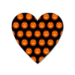 Funny Halloween   Pumpkin Pattern Heart Magnet by MoreColorsinLife