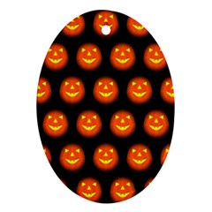Funny Halloween   Pumpkin Pattern Oval Ornament (two Sides) by MoreColorsinLife