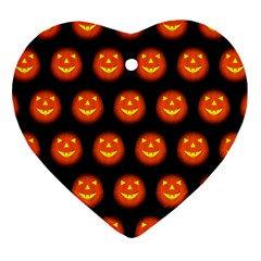 Funny Halloween   Pumpkin Pattern Heart Ornament (two Sides) by MoreColorsinLife