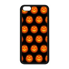 Funny Halloween   Pumpkin Pattern Apple Iphone 5c Seamless Case (black) by MoreColorsinLife