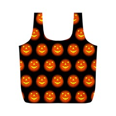 Funny Halloween   Pumpkin Pattern Full Print Recycle Bags (m)  by MoreColorsinLife