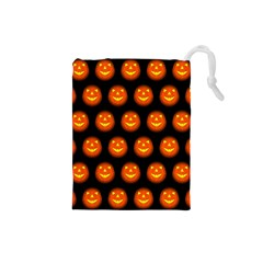 Funny Halloween   Pumpkin Pattern Drawstring Pouches (small)  by MoreColorsinLife