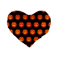 Funny Halloween   Pumpkin Pattern Standard 16  Premium Flano Heart Shape Cushions by MoreColorsinLife