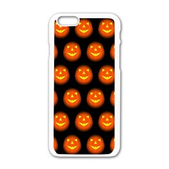 Funny Halloween   Pumpkin Pattern Apple Iphone 6/6s White Enamel Case by MoreColorsinLife