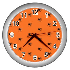 Funny Halloween   Spider Pattern Wall Clocks (Silver)