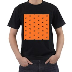 Funny Halloween   Spider Pattern Men s T-Shirt (Black) (Two Sided)