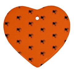 Funny Halloween   Spider Pattern Heart Ornament (Two Sides)