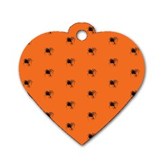 Funny Halloween   Spider Pattern Dog Tag Heart (Two Sides)