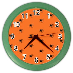 Funny Halloween   Spider Pattern Color Wall Clocks