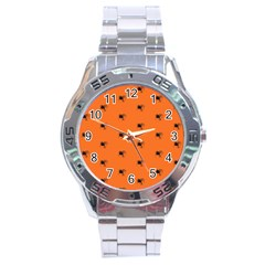 Funny Halloween   Spider Pattern Stainless Steel Analogue Watch