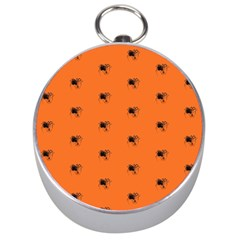 Funny Halloween   Spider Pattern Silver Compasses
