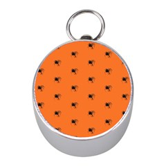 Funny Halloween   Spider Pattern Mini Silver Compasses