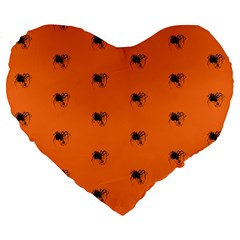 Funny Halloween   Spider Pattern Large 19  Premium Flano Heart Shape Cushions