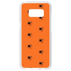 Funny Halloween   Spider Pattern Samsung Galaxy S8 White Seamless Case by MoreColorsinLife