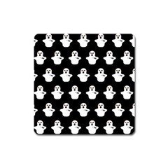 Funny Halloween   Ghost Pattern Square Magnet by MoreColorsinLife