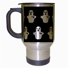 Funny Halloween   Ghost Pattern Travel Mug (silver Gray) by MoreColorsinLife
