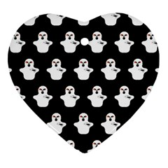 Funny Halloween   Ghost Pattern Heart Ornament (two Sides) by MoreColorsinLife