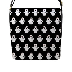 Funny Halloween   Ghost Pattern Flap Messenger Bag (l)  by MoreColorsinLife