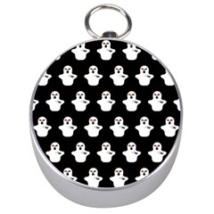 Funny Halloween   Ghost Pattern Silver Compasses by MoreColorsinLife