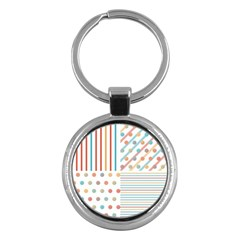 Simple Saturated Pattern Key Chains (round)  by linceazul