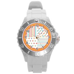 Simple Saturated Pattern Round Plastic Sport Watch (l) by linceazul