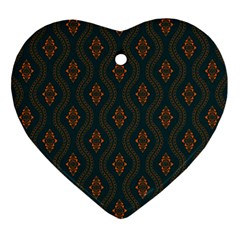 Ornamental Pattern Background Heart Ornament (two Sides) by TastefulDesigns