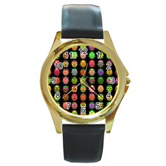Beetles Insects Bugs Round Gold Metal Watch