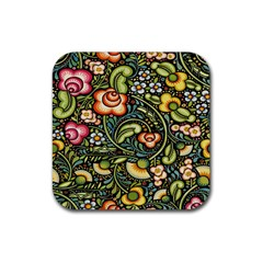 Bohemia Floral Pattern Rubber Coaster (square)  by BangZart