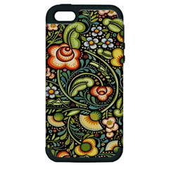 Bohemia Floral Pattern Apple Iphone 5 Hardshell Case (pc+silicone) by BangZart