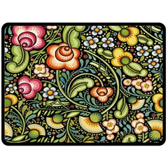 Bohemia Floral Pattern Double Sided Fleece Blanket (large)  by BangZart