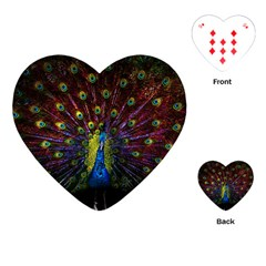 Beautiful Peacock Feather Playing Cards (heart)  by BangZart