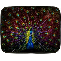 Beautiful Peacock Feather Double Sided Fleece Blanket (mini)  by BangZart