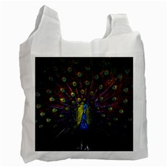 Beautiful Peacock Feather Recycle Bag (two Side)
