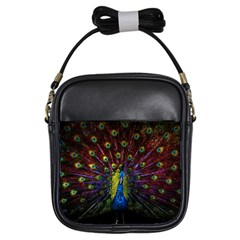 Beautiful Peacock Feather Girls Sling Bags by BangZart