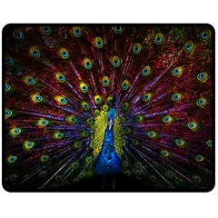 Beautiful Peacock Feather Fleece Blanket (medium)